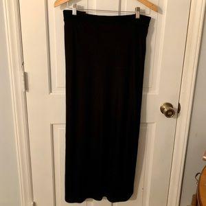 Size 30/32 Long Black Velvet Skirt with Side Slit